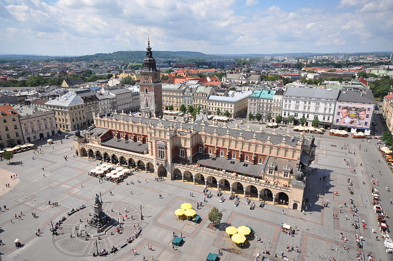 Aerial view of Kraków's medieval town square